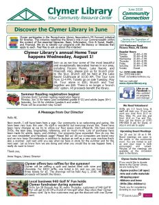 June 2018 Clymer Library Activity Newsletter Page 1.