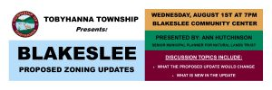 Tobyhanna Township Presents Blakeslee Proposed Zoning Updates on Wednesday August 1st 2018.